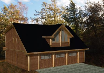 Post and beam log homes log garages handcrafted log for Garages with living quarters above
