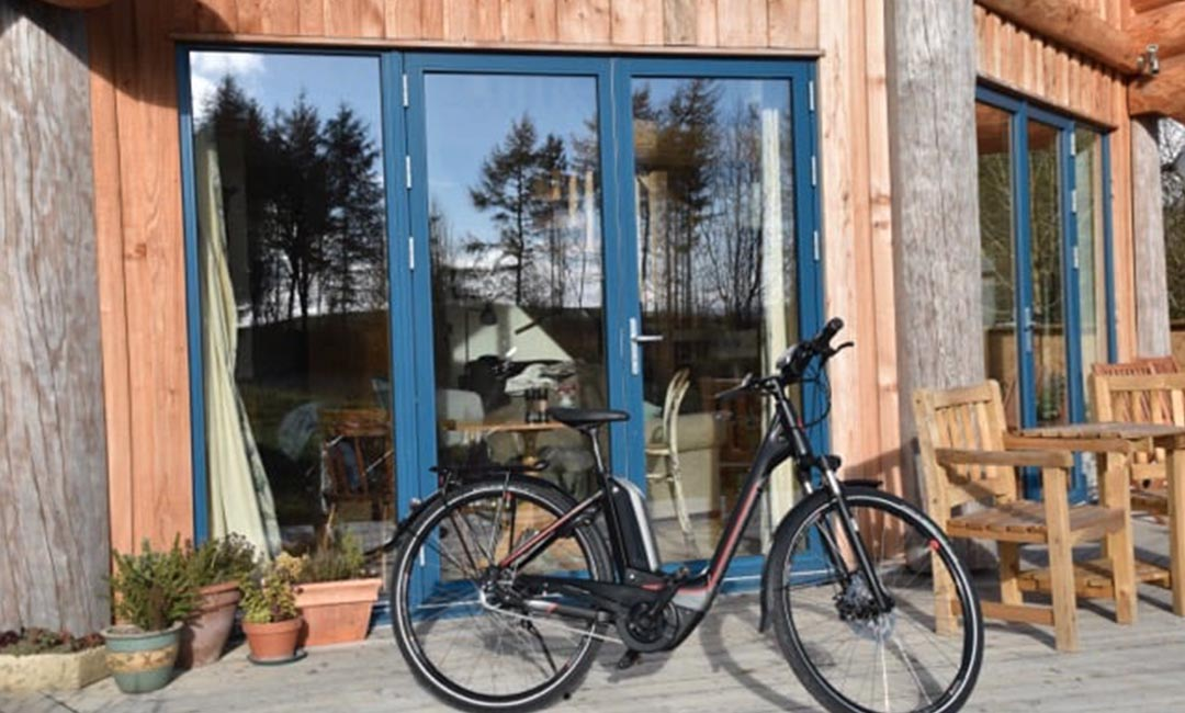 Fiddle Hill log home bicycle